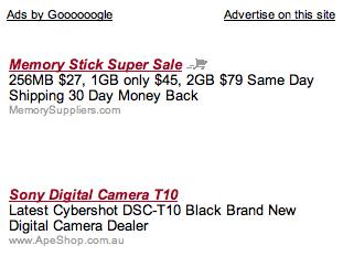 Italicized AdSense Ad